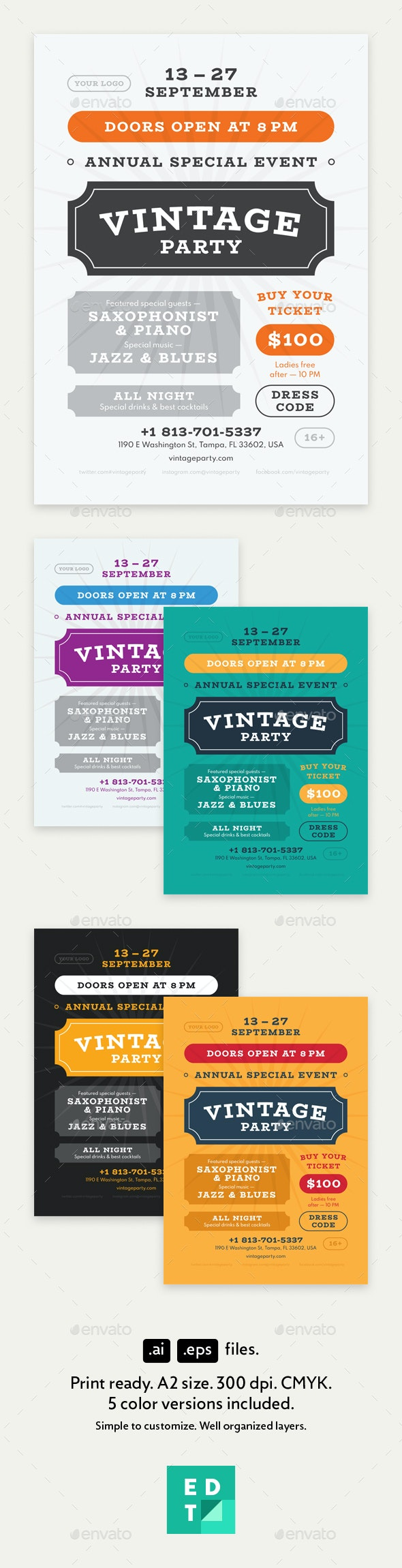Vintage Party Poster Template - Clubs & Parties Events