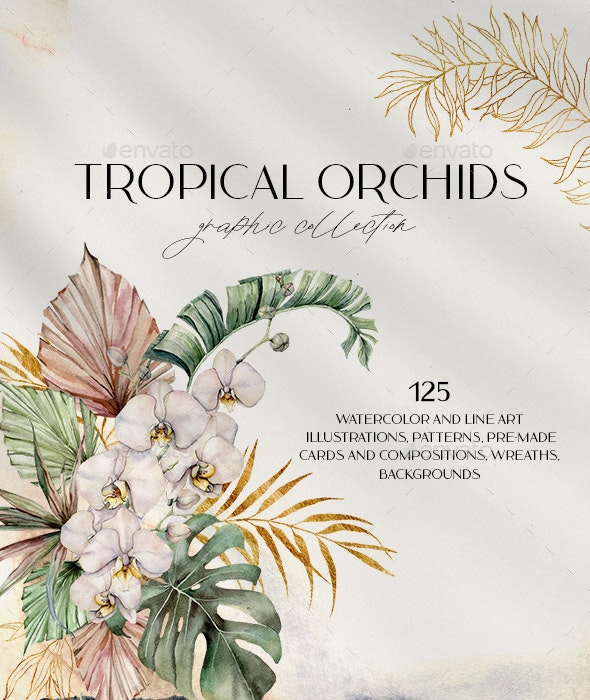 Tropical orchids. Watercolor collection - Nature Backgrounds