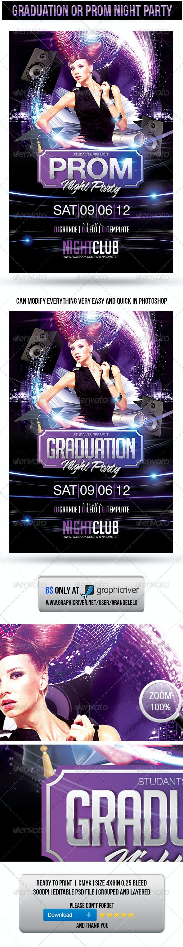 Graduation or Prom Night Party Flyer - Clubs & Parties Events