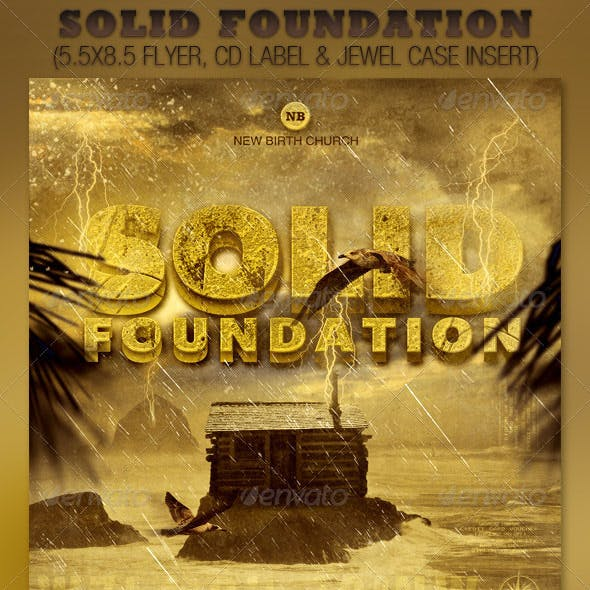 Solid Foundation Church Flyer and CD Template