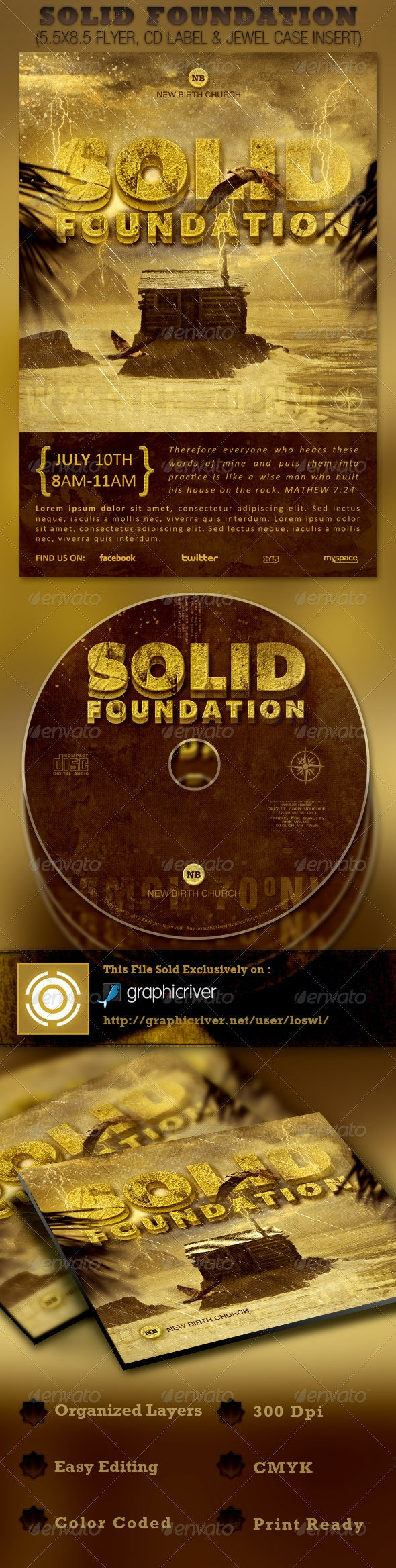 Solid Foundation Church Flyer and CD Template - Church Flyers