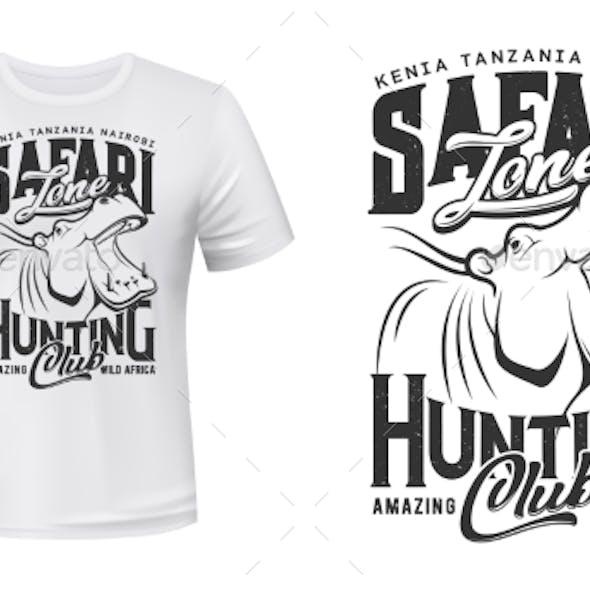 Hunter Club T-shirt Print, African Safari Hippo