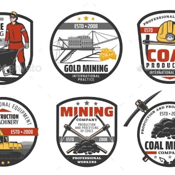 Iron Ore Mining Industry Coal Mine Machinery Icons