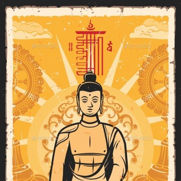 Buddhism Religion Spiritual Awakening Retro Poster