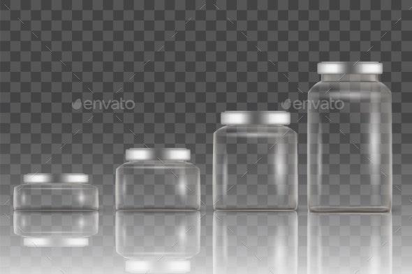 Realistic Empty Glass Jar Mockup Set, Vector - Miscellaneous Vectors