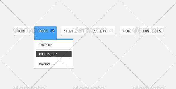 Clean Multilevel Menu / Navigation - Web Elements