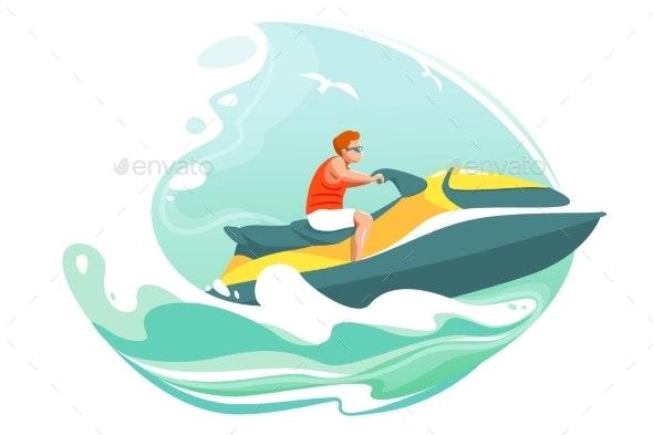 Man Rides Jetski In Sea Vector Poster By Prostorina Graphicriver