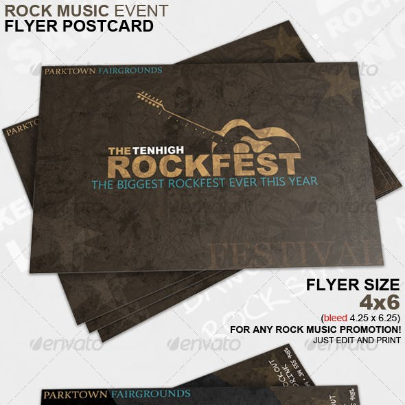 Rock Music Event Flyer Postcard