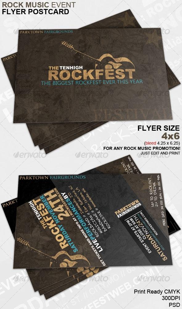 Rock Music Event Flyer Postcard - Concerts Events