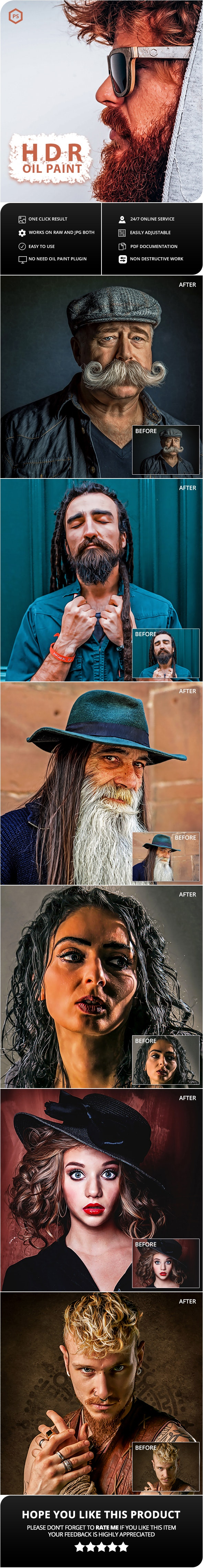 HDR Oil Paint Photoshop Action - Photo Effects Actions