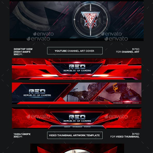 Red Republic of Gamers Youtube Channel Art/Video Thumbnail and Ending Video Template