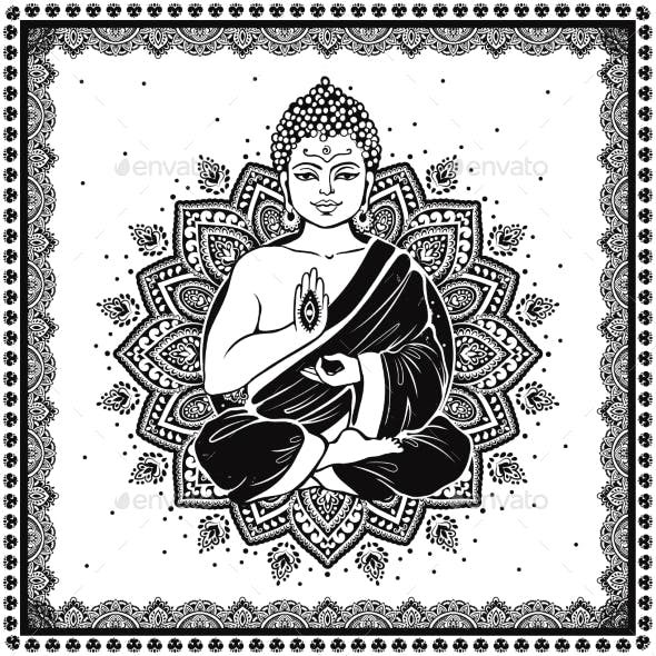 Vintage Vector Illustration of Meditating Buddha