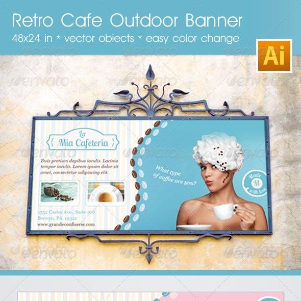 Retro Cafe Outdoor Banner