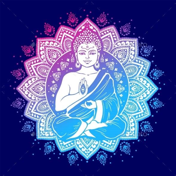 Vintage Vector Illustration of Meditating Buddha - Religion Conceptual