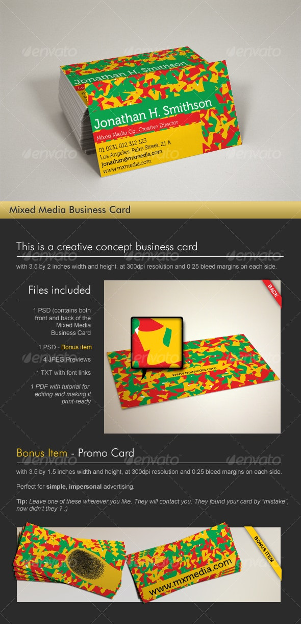 Mixed Media Business Card - Creative Business Cards