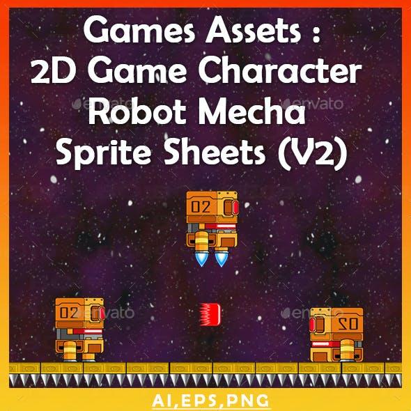 Games Assets : 2D Game Character Robot Mecha Sprite Sheets (v2)