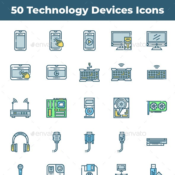 50 Technology Devices Icons
