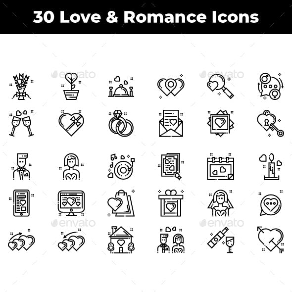 30 Love and Romance Icons