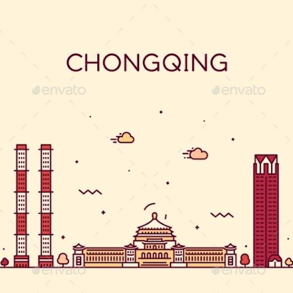 Chongqing Skyline Southwest China Vector Line City