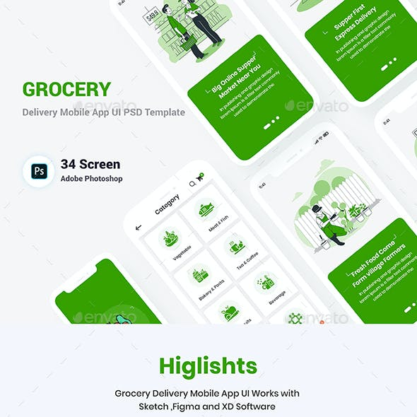 Grocery Delivery Mobile App UI Template