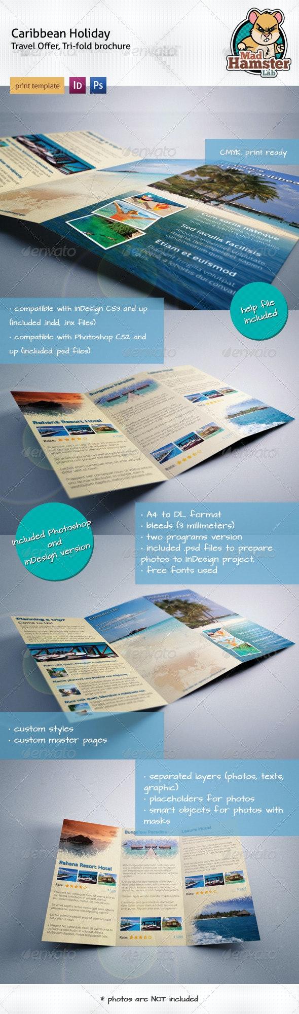 Caribbean Holiday, Travel Offer, Tri-fold Brochure - Brochures Print Templates