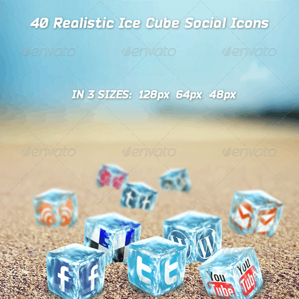 40 Realistic Ice Cube Social Icons