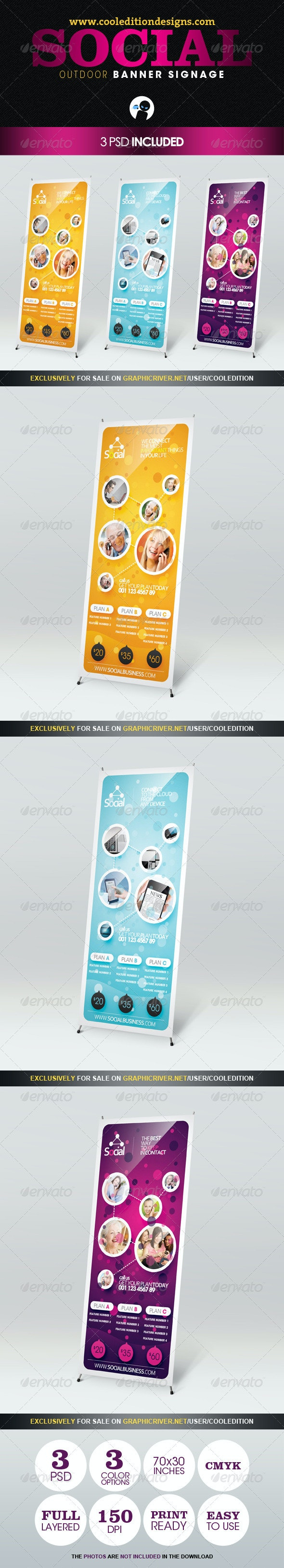 Social - Outdoor Banner Signage - Signage Print Templates