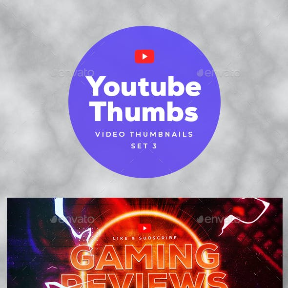 Youtube Thumbnail Templates Set 3 - 6 in 1