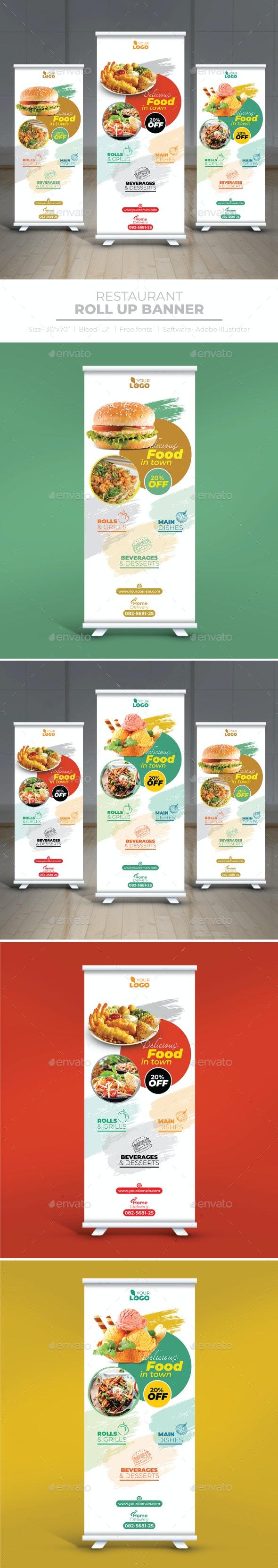 Restaurant Roll Up Banner - Signage Print Templates