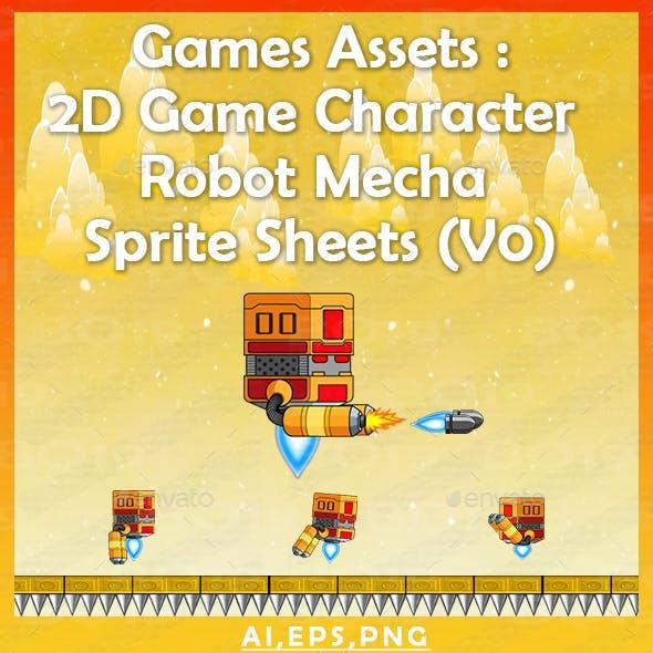 Games Assets : 2D Game Character Robot Mecha Sprite Sheets (v0)
