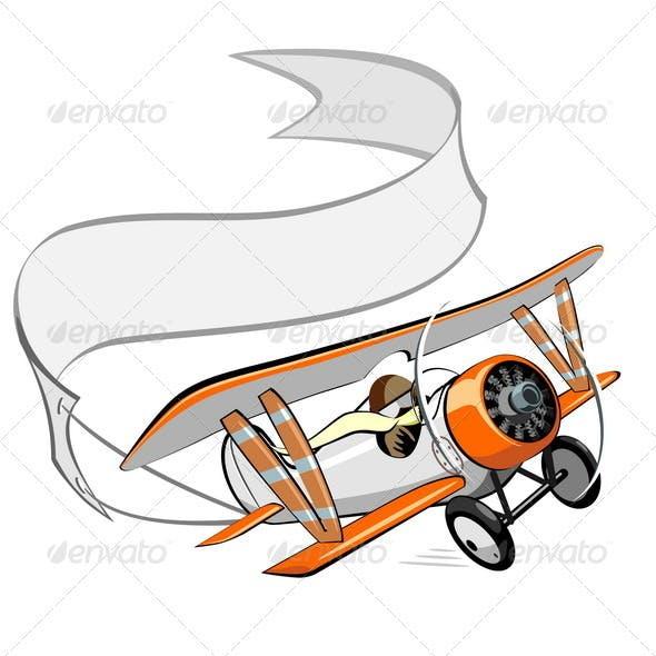 Cartoon Retro Biplane