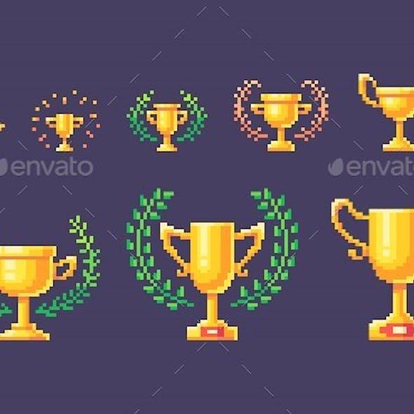 Pixel Art Set of Winner Cups
