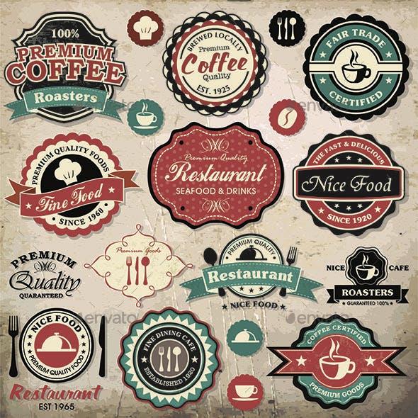 Retro Food Labels Set - Food Vintage Grunge Icons and Badges