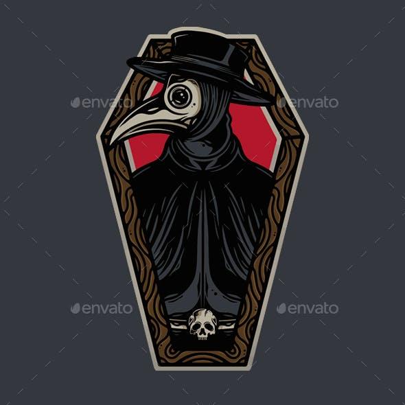 Plague Doctor Coffin Vector Tattoo Design