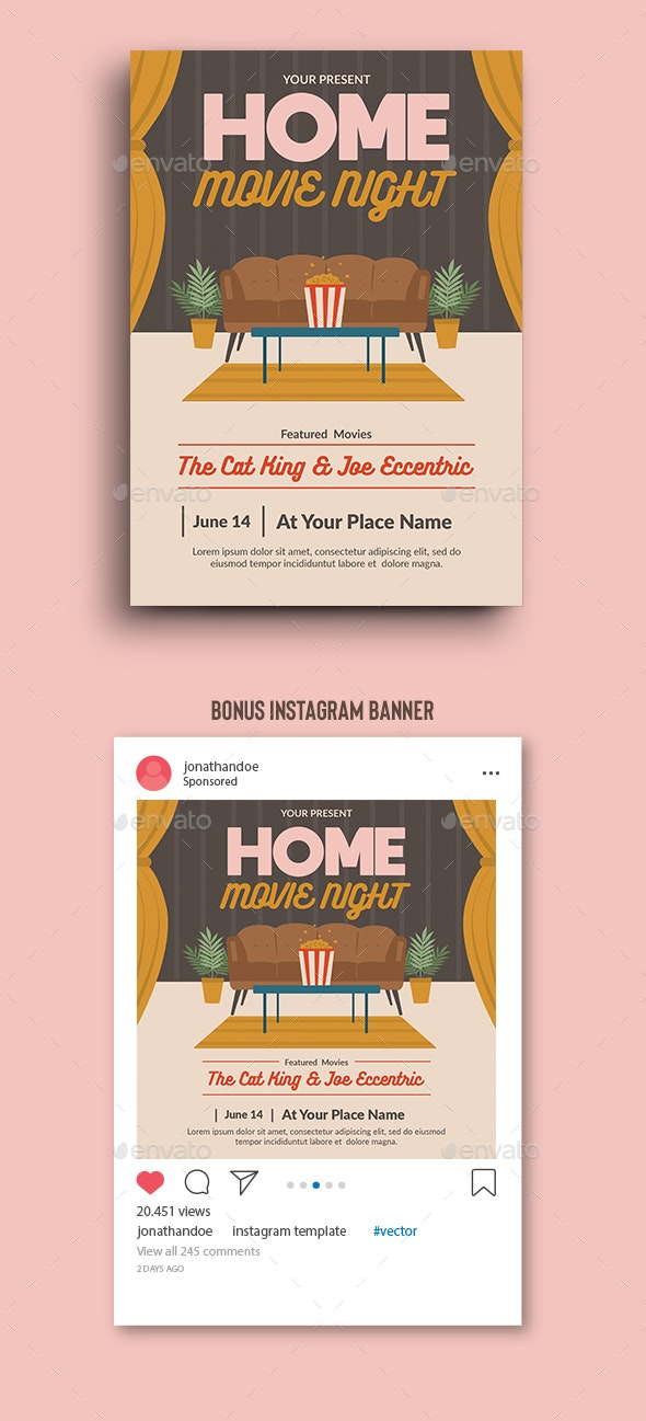 Home Movie Night Flyer Template - Events Flyers
