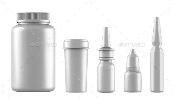 Realistic Mock Up White Bottles for Drugs Tablets - Health/Medicine Conceptual