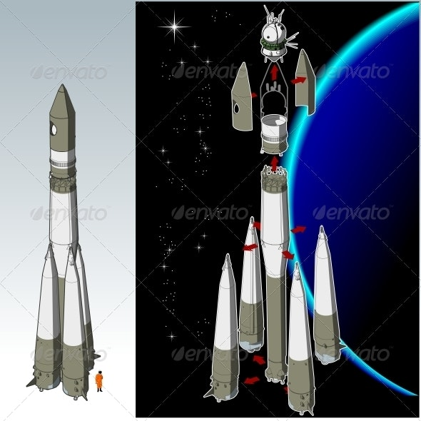 Space Rocket with first Spaceship - Technology Conceptual