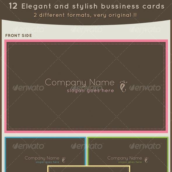 12 Elegant business cards 2 different formats!