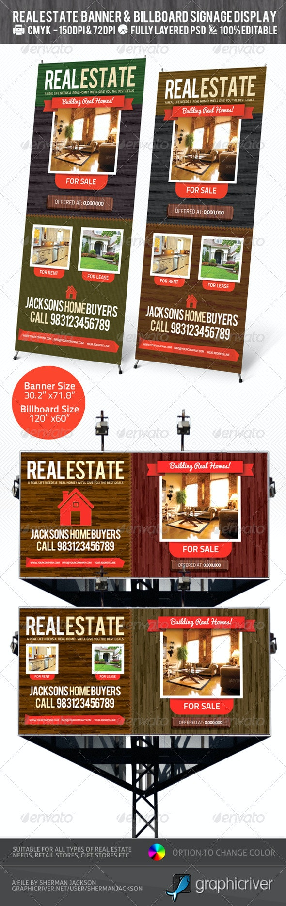 Real Estate Outdoor Banner & Billboard Signage PSD - Signage Print Templates