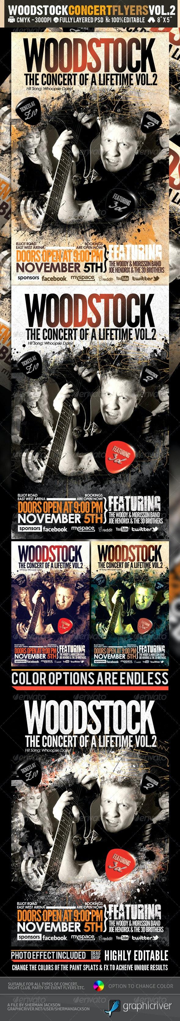Woodstock PSD Flyer Templates Vol-2 - Concerts Events