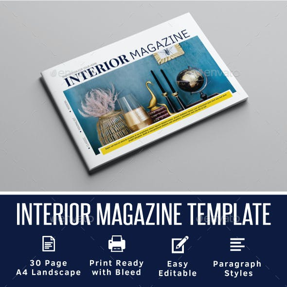 Interior Magazine A4 Landscape Template