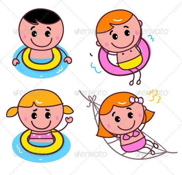 Doodle happy swimming kids set - Sports/Activity Conceptual