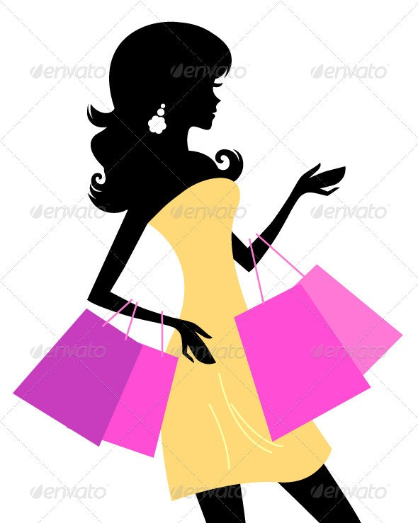 Shopping retro girl isolated on white - Commercial / Shopping Conceptual