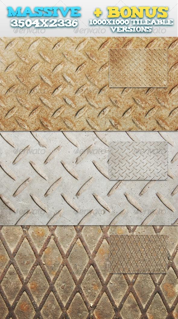 3 Metal Plates + BONUS Tileable Versions - Metal Textures