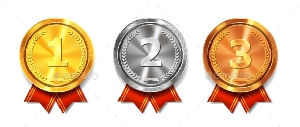 Gold Silver and Bronze Medals Winner Awards - Miscellaneous Vectors