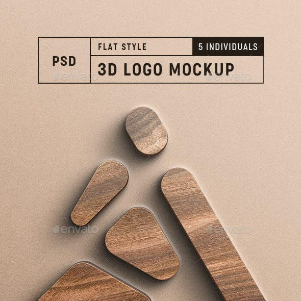 3D Logo Mockup Realistic & Pro Quality - Set of Five