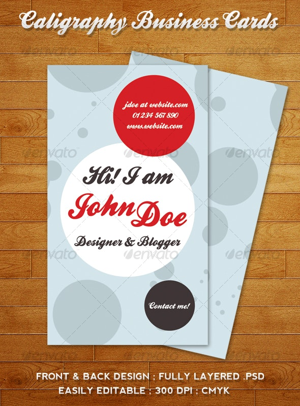 Caligraphy Business Cards - Creative Business Cards