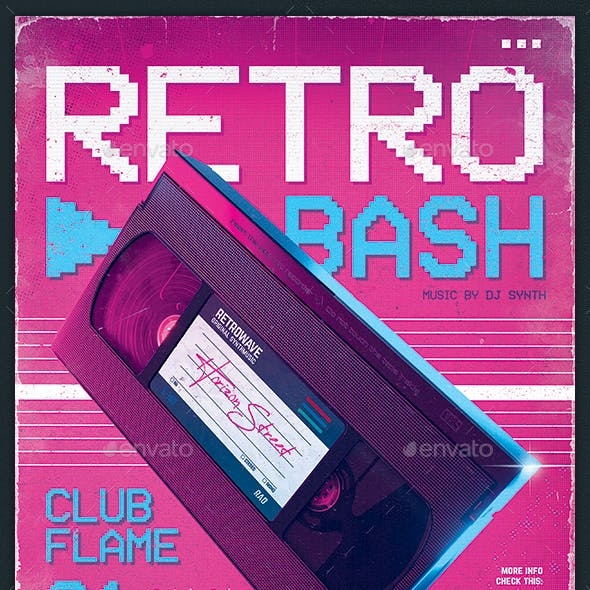 New Retro Wave Flyer 80s VHS Template v4
