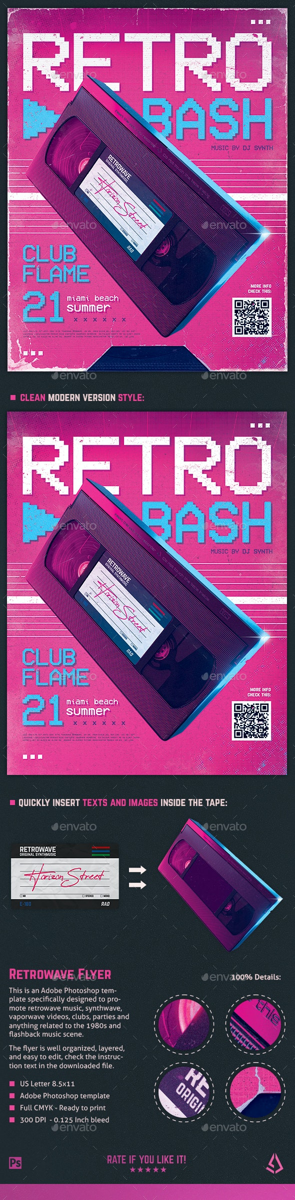 New Retro Wave Flyer 80s VHS Template v4 - Clubs & Parties Events