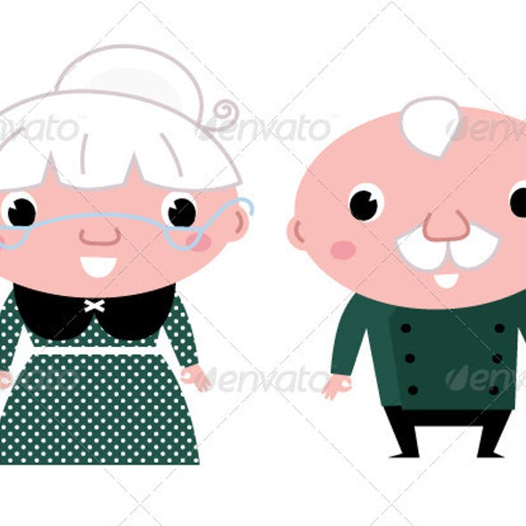 Cute elderly couple - grandmother and grandfather
